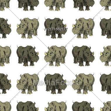 Seamless African Rhinoceros Background. Animal Pattern Stock Photo