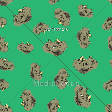 Seamless African Rhinoceros Background. Animal Rhino Pattern Stock Photo