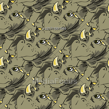 Seamless African Rhinoceros Background. Animal Rhino Pattern Stock Photo