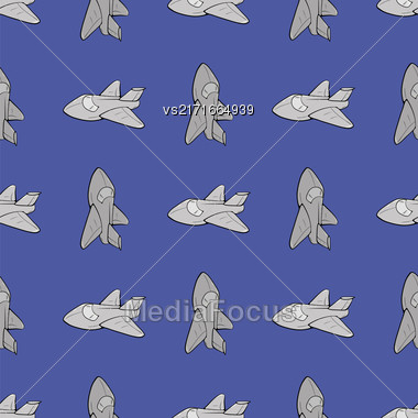 Seamless Aircraft Blue Background. Concept Airplane Pattern Stock Photo