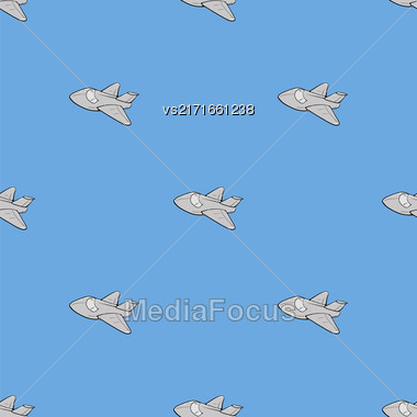 Seamless Aircraft Blue Background. White Airplane Pattern Stock Photo