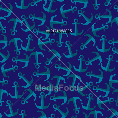 Seamless Anchor Pattern On Blue. Abstract Nautical Background. Sea Sailor Symbol Stock Photo