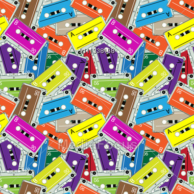 Seamless Audio Tapes Pattern, Abstract Texture Stock Photo