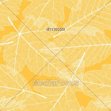 Seamless autumn leaves pattern Stock Photo