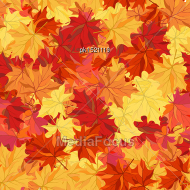 Seamless Autumn Maple Leaves Pattern Stock Photo