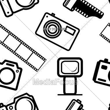 Seamless Background, Of Digital Cameras, Tripod, Film Stock Photo