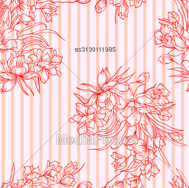 Seamless Background With Flower. Could Be Used As Seamless Wallpaper, Textile, Wrapping Paper Or Background Stock Photo