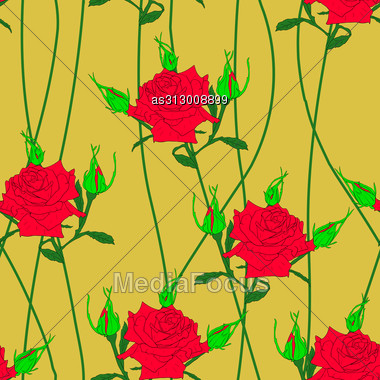 Seamless Background With Flower Roses. Could Be Used As Seamless Wallpaper, Textile, Wrapping Paper Or Background Stock Photo
