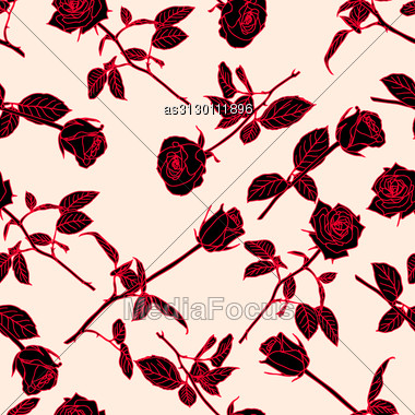 Seamless Background With Roses. Could Be Used As Seamless Wallpaper, Textile, Wrapping Paper Or Background Stock Photo