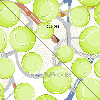 Seamless Background With Tennis Balls And Rackets Stock Photo