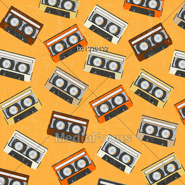 Seamless Background With Vintage Analogue Music Recordable Cassettes, Vector Illustration Stock Photo