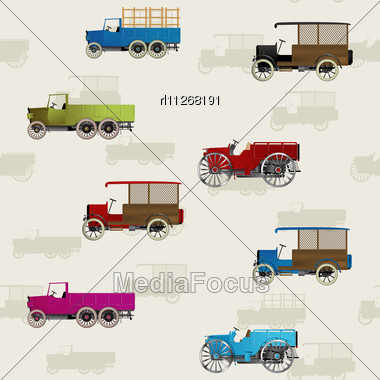 Seamless Background With Vintage Cars In Colors Stock Photo