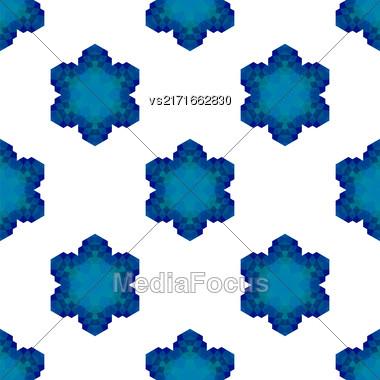 Seamless Blue Snowflake Pattern. Geometric Ornamental Background Stock Photo
