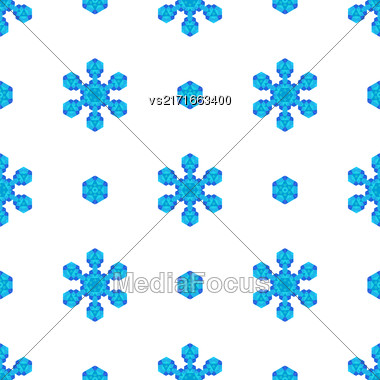Seamless Blue Snowflake Pattern. Geometric Ornamental Background Stock Photo