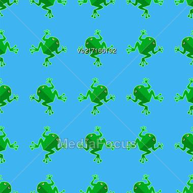 Seamless Cartoon Frog Pattern. Animal Blue Background Stock Photo