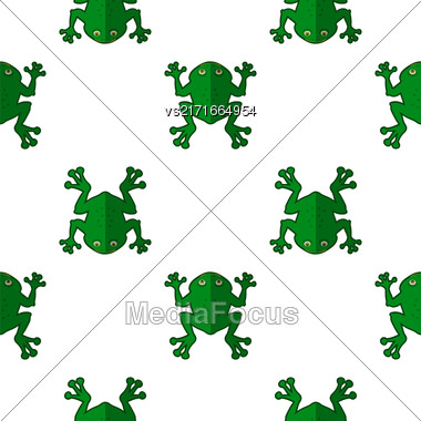 Seamless Cartoon Frog Pattern. Animal Green Background Stock Photo