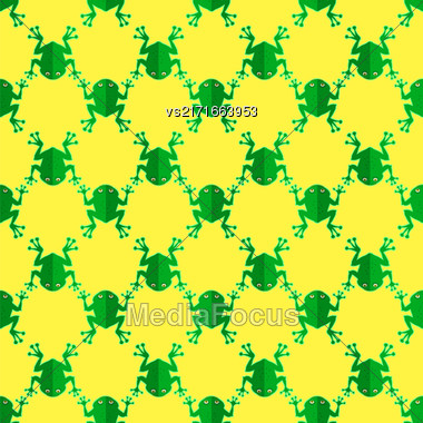 Seamless Cartoon Frog Pattern. Animal Yellow Background Stock Photo