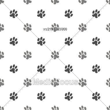 Seamless Cat Animal Paw Pattern. Print Of Paw Background Stock Photo