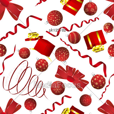 Seamless Christmas And New Year Elements Background. Vector Illustration. Stock Photo