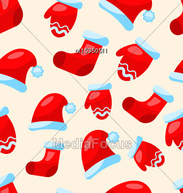 Seamless Christmas Pattern Part Santa Costume Mittens Hats Boots - Vector Stock Photo