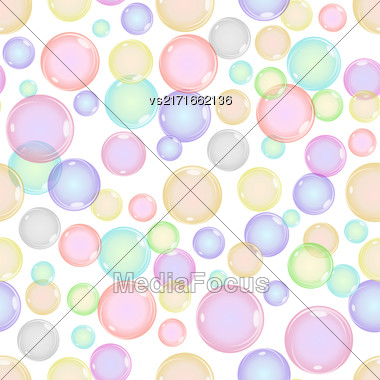 Seamless Colorful Bubbles Pattern On White Background Stock Photo