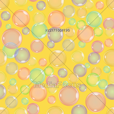 Seamless Colorful Bubbles Pattern On Yellow Background Stock Photo
