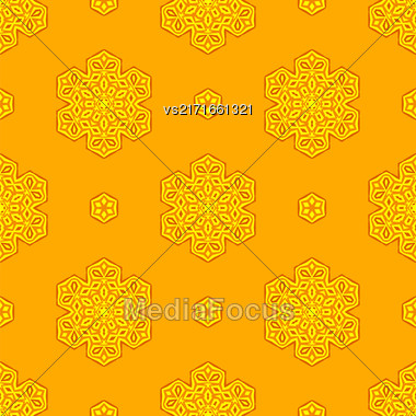 Seamless Creative Ornamental Yellow Pattern. Geometric Decorative Background Stock Photo