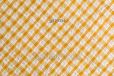 Seamless Diagonal Tablecloth Pattern, In Yellow And White Stock Photo
