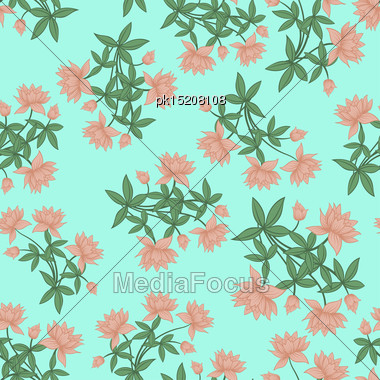Seamless Floral Pattern. For Easy Making Seamless Pattern Just Drag All Group Into Swatches Bar, And Use It For Filling Any Contours. Vector Illustration Stock Photo