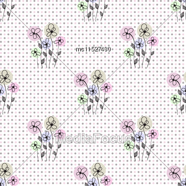 Seamless Floral Polka Dot Background. Simple Vector Background With Blue And Grey Dots And Abstract Flowers. Cute Artistic Design For Invitation, Wedding Or Greeting Cards And Scrapbooking Elements Stock Photo