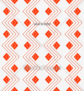 Seamless Geometric Background. Modern 3D Texture. Pattern With Realistic Shadow And Cut Out Of Paper Effect.White Embossed Zigzag With Red Lines Stock Photo