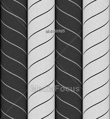 Seamless Geometric Background. Modern Monochrome Ribbon Like Ornament. Pattern With Textured Ribbons.Ribbons Black And Gray Chevron Pattern Stock Photo