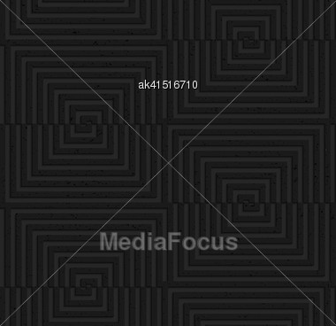 Seamless Geometric Background. Pattern With 3D Texture And Realistic Shadow.Textured Black Plastic Cut And Shifted Squares Stock Photo