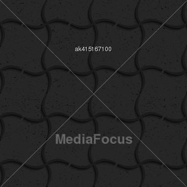 Seamless Geometric Background. Pattern With 3D Texture And Realistic Shadow.Textured Black Plastic Wavy Grid Stock Photo