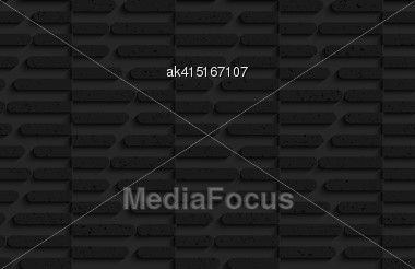 Seamless Geometric Background. Pattern With 3D Texture And Realistic Shadow.Textured Black Plastic Cut In Half Hexagons Stock Photo