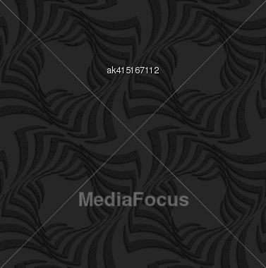 Seamless Geometric Background. Pattern With 3D Texture And Realistic Shadow.Textured Black Plastic Twisted Big Squares Stock Photo