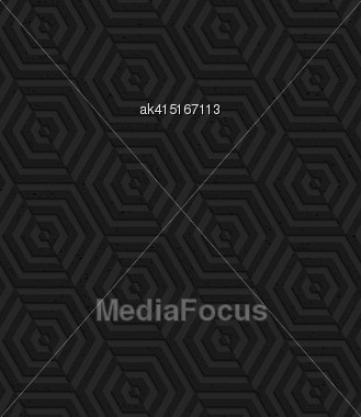Seamless Geometric Background. Pattern With 3D Texture And Realistic Shadow.Textured Black Plastic Diagonally Cut Hexagons Stock Photo