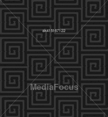 Seamless Geometric Background. Pattern With 3D Texture And Realistic Shadow.Textured Black Plastic Square Spirals Stock Photo