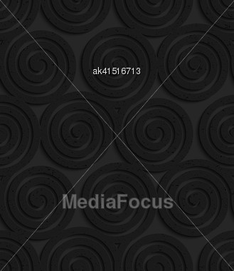 Seamless Geometric Background. Pattern With 3D Texture And Realistic Shadow.Textured Black Plastic Three Spirals Stock Photo