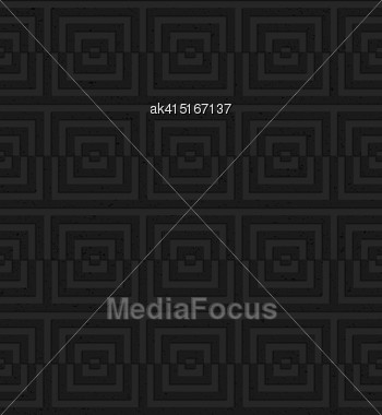 Seamless Geometric Background. Pattern With 3D Texture And Realistic Shadow.Textured Black Plastic Cut Squares Stock Photo