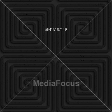Seamless Geometric Background. Pattern With 3D Texture And Realistic Shadow.Textured Black Plastic Square Spirals.Textured Black Plastic Square Spirals Reflected Stock Photo
