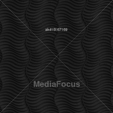 Seamless Geometric Background. Pattern With 3D Texture And Realistic Shadow.Textured Black Plastic Striped Vertical Waves Stock Photo