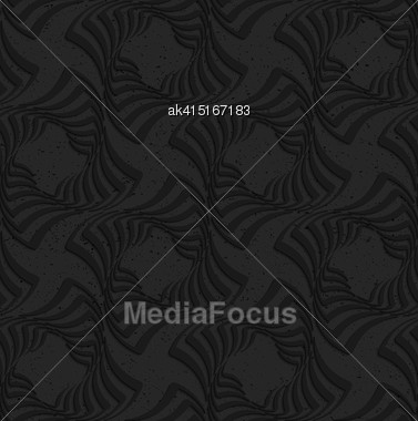 Seamless Geometric Background. Pattern With 3D Texture And Realistic Shadow.Textured Black Plastic Twisted Squares Stock Photo