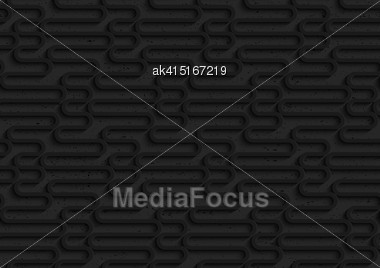Seamless Geometric Background. Pattern With 3D Texture And Realistic Shadow.Textured Black Plastic Waves Stock Photo
