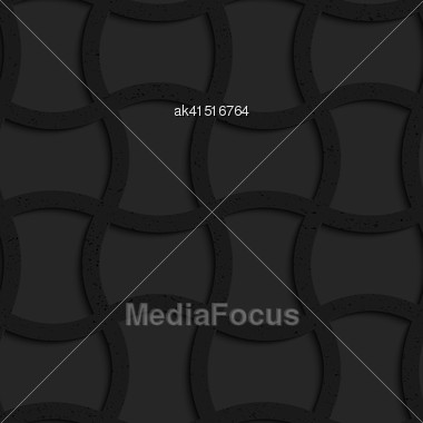 Seamless Geometric Background. Pattern With 3D Texture And Realistic Shadow.Textured Black Plastic Arched Rectangles Grid Stock Photo