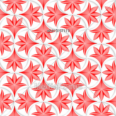 Seamless Geometric Background. Pattern With Realistic Shadow And Cut Out Of Paper Effect.3D White Pin Will Grid With Striped Floral Leaves Stock Photo