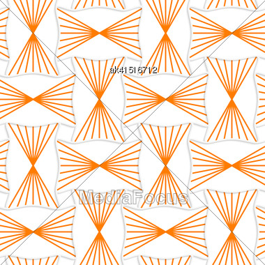 Seamless Geometric Background. Pattern With Realistic Shadow And Cut Out Of Paper Effect.3D Orange Striped Pin Will Rectangles Stock Photo