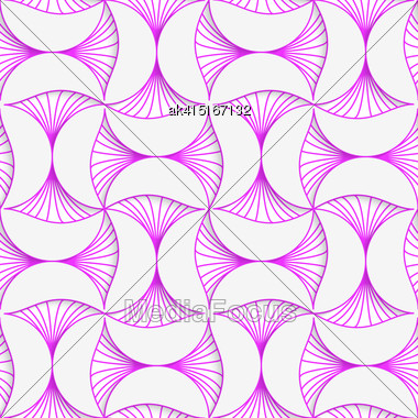 Seamless Geometric Background. Pattern With Realistic Shadow And Cut Out Of Paper Effect.3D Purple Striped Pin Will Stock Photo
