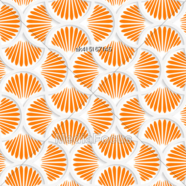 Seamless Geometric Background. Pattern With Realistic Shadow And Cut Out Of Paper Effect.3D Orange Ray Striped Pin Will Grid Stock Photo