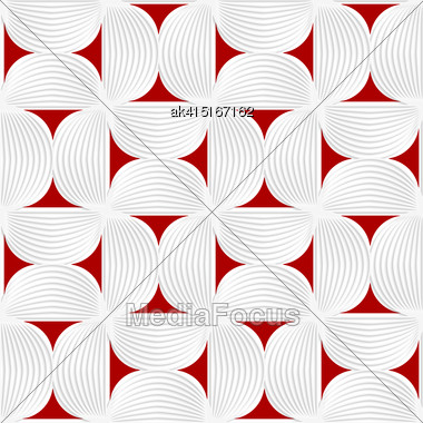 Seamless Geometric Background. Pattern With Realistic Shadow And Cut Out Of Paper Effect.3D White Striped Semi Circles With Red Stock Photo